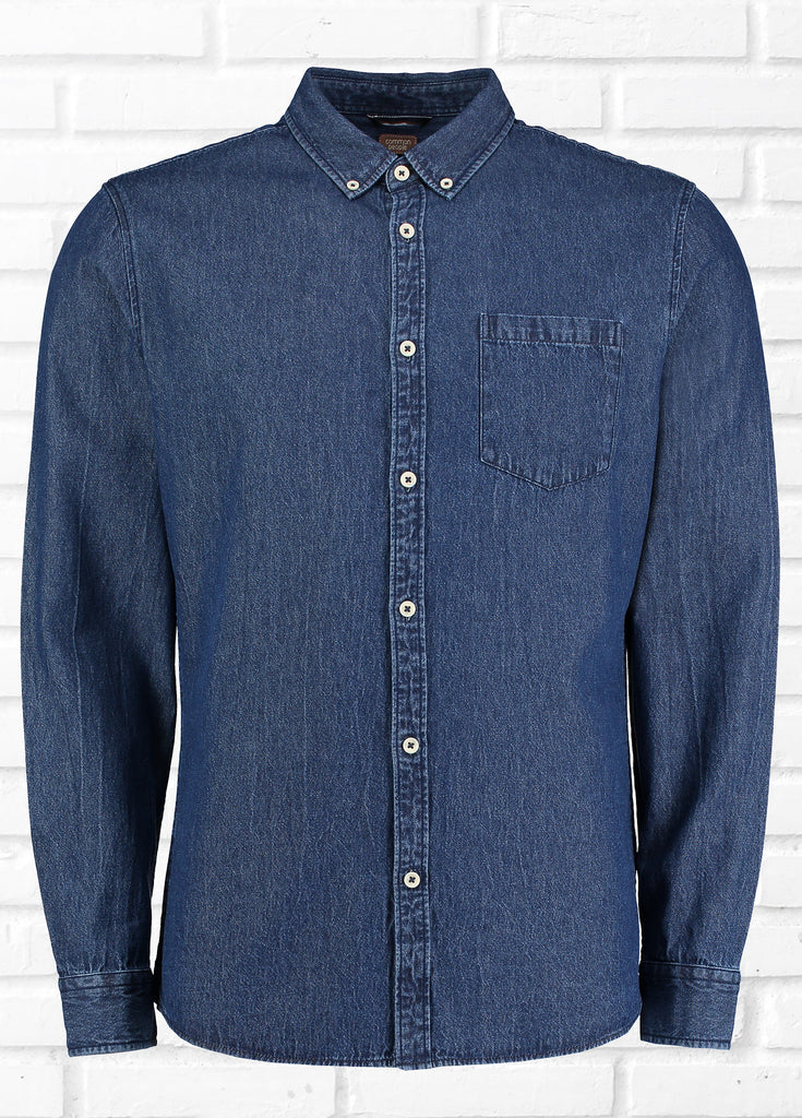 BOWIE LONG SLEEVE DENIM SHIRT - DARK BLUE