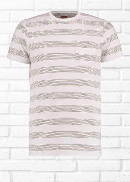 DENTY DOT TEXTURED TEE SHIRT - STONE
