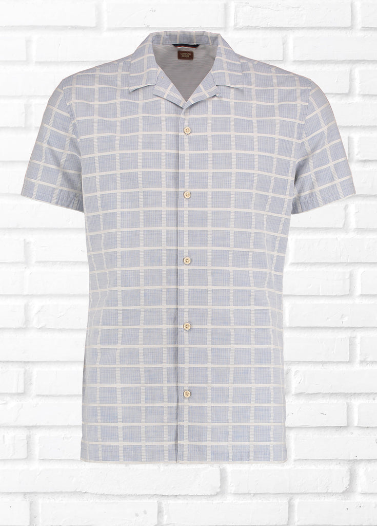 EZRA TEXTURED CHECK SHIRT - BLUE/ECRU