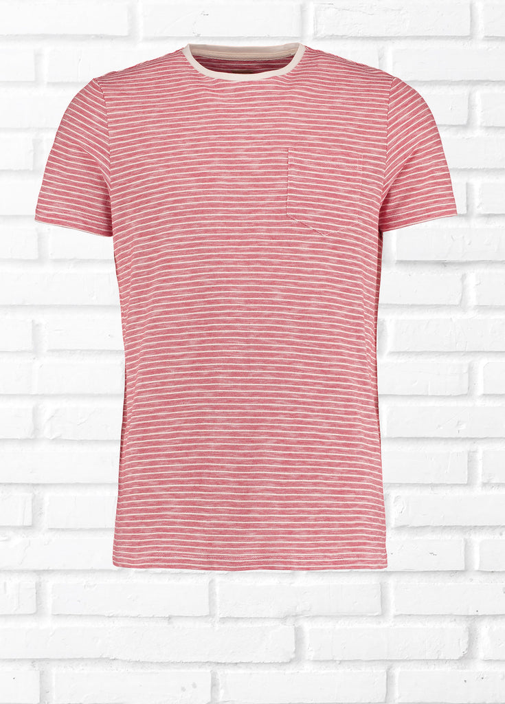 FAN TEXTURED STRIPE TEE SHIRT - CORAL