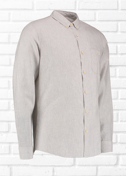 GRADE LINEN BLEND STRIPE SHIRT - GREY/WHITE