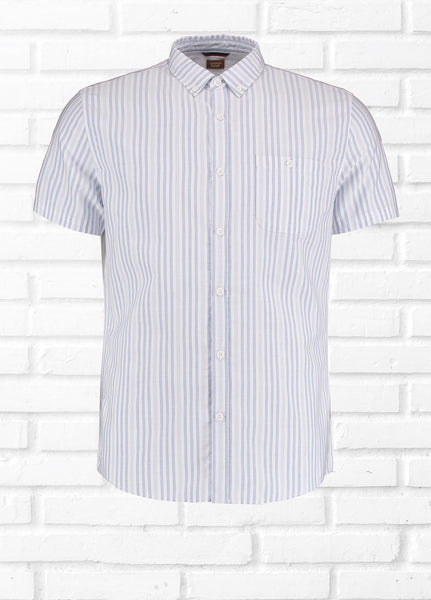PROM STRIPE SHIRT - WHITE/BLUE