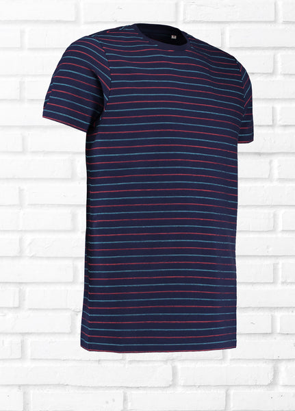 RAVEN STITCH DETAIL TEE SHIRT - NAVY