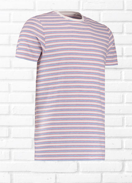 RIGGS STAB STITCH STRIPE TEE SHIRT - CORAL/BLUE