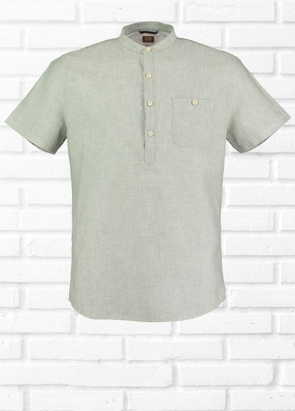 CREW OVER HEAD LINEN BLEND SHIRT - GREEN
