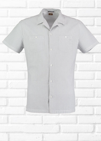 FLIP SEERSUCKER REVERE SHIRT - GREY