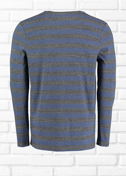 HYPO MARL STRIPE TEE SHIRT - DARK GREY