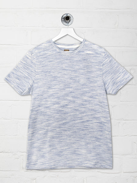 YOUNG SPACE DYED TEE - WHITE/BLUE