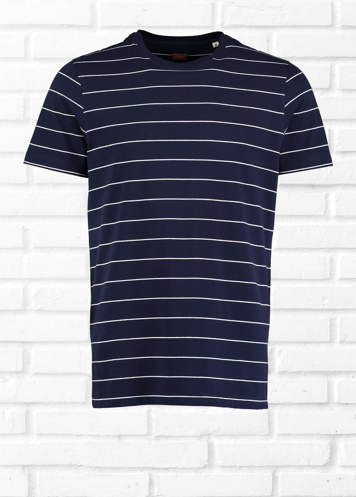 NORMAN SHORT SLEEVE WIDE STRIPE TEE SHIRT  - NAVY