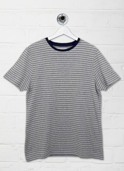 WILD TEXTURED STRIPE TEE - GREY/NAVY
