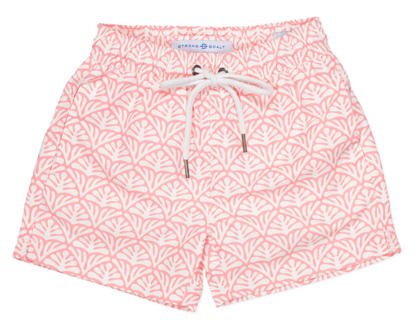 NEW - Boys Classic Swim Trunk Batik Geo - Coral Fan