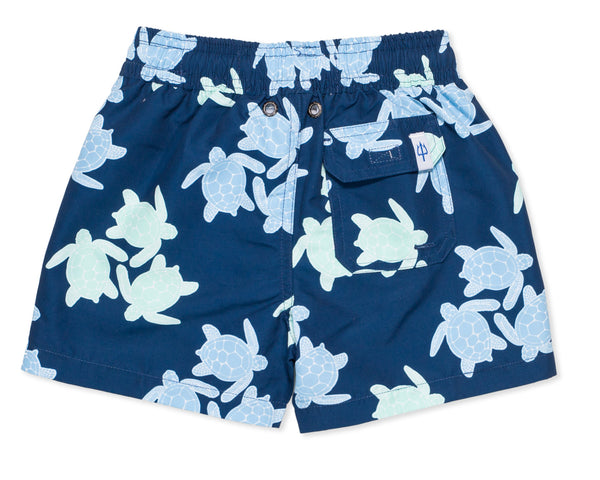 NEW - Boys Classic Swim Trunk Turtles - Amanda Blue