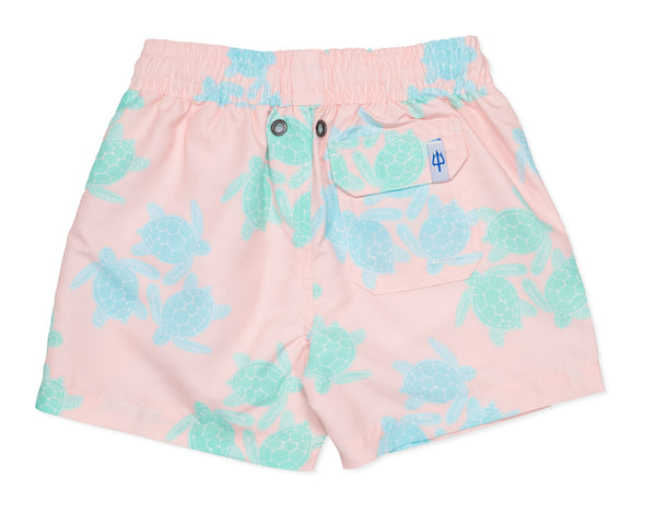 NEW - Boys Classic Swim Trunk Turtles - Malibu Pink