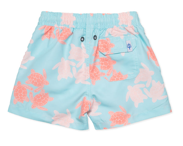 NEW - Boys Classic Swim Trunk Turtles - Sky Blue