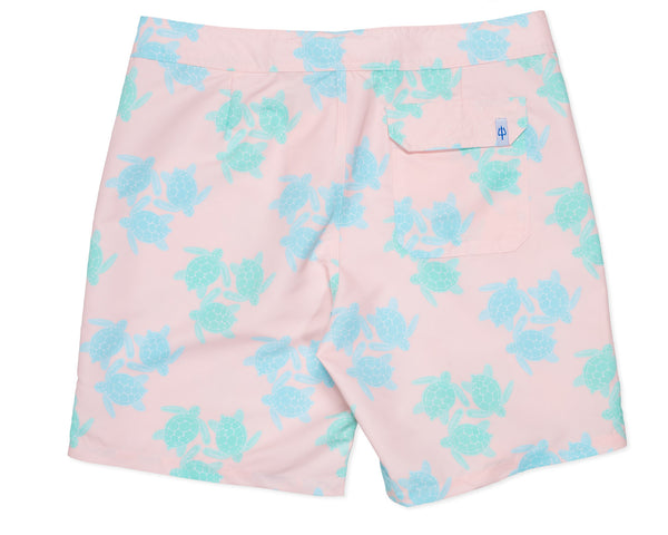 NEW - Classic Boardshort Turtles - Malibu Pink