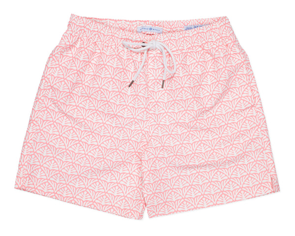NEW - Classic Swim Trunk Batik Geo - Coral Fan