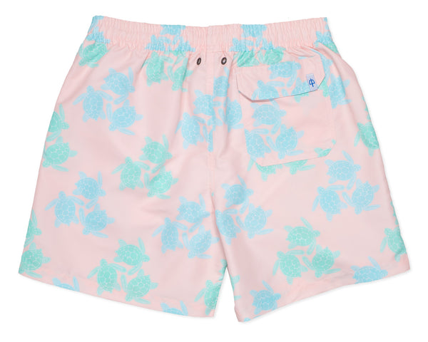 NEW - Classic Swim Trunk Turtles - Malibu Pink
