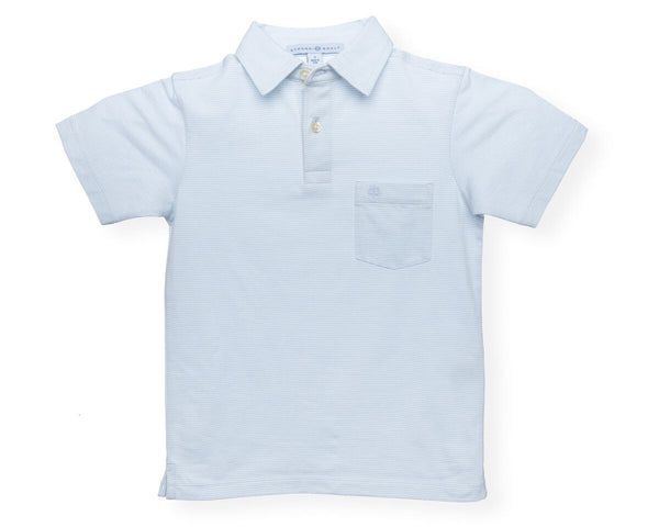 The Boy's Micro Stripe Polo - Washed Blue/White