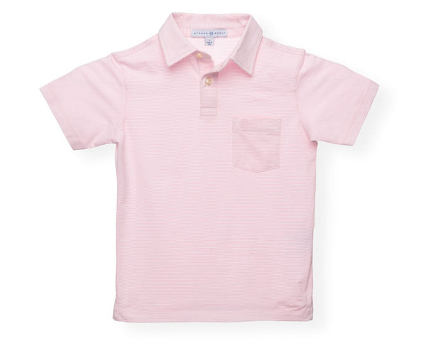 The Boy's Micro Stripe Polo - Pink/White