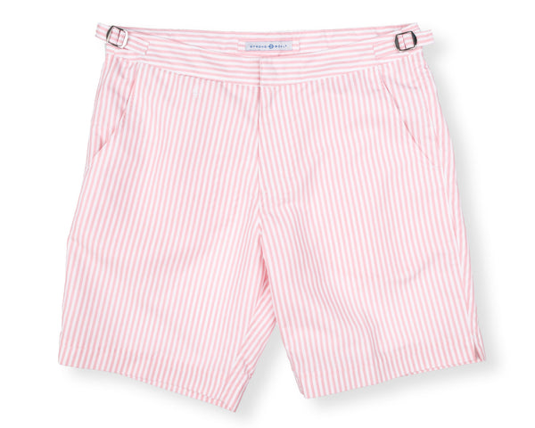 The Hybrid Short 2.0 - Pink & White Stripe