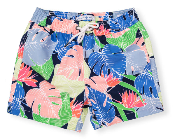 NEW! Boys Classic Swim Trunk Multi Leaf - Navy