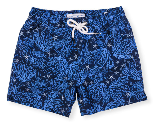 Boys Classic Swim Trunk Coral - Navy