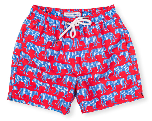 Boys Classic Swim Trunk Jungle Cat - Red