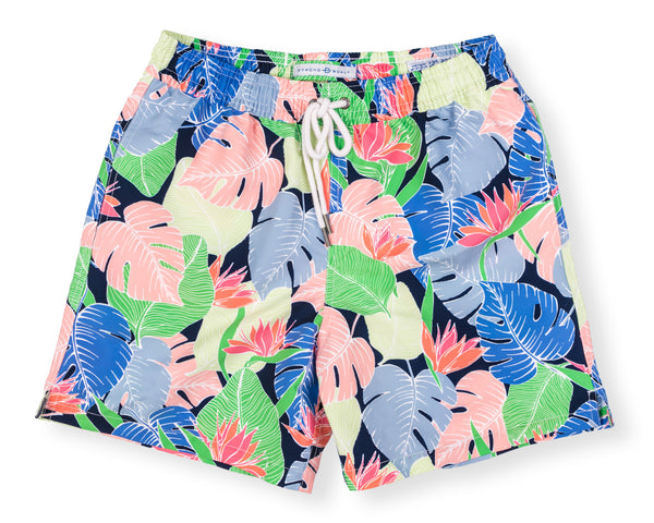 Classic Swim Trunk Multi Leaf - Navy