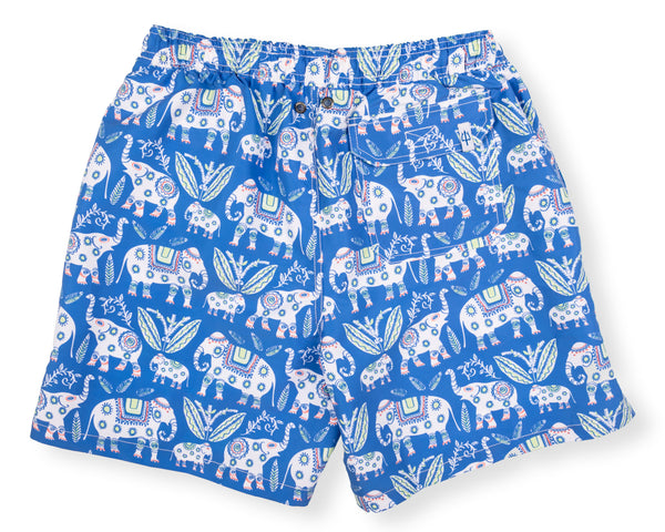 NEW! Classic Swim Trunk Elephant - Delphinium