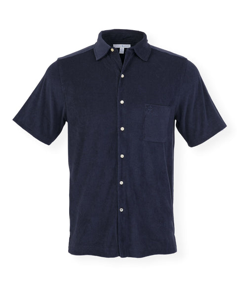 The Bingo Terry Cloth Button Down- Darkest Indigo
