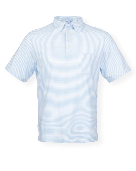 The Classic Stripe Polo - Washed Blue/White