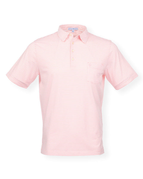 NEW! The Classic Stripe Polo - Splash Coral/White