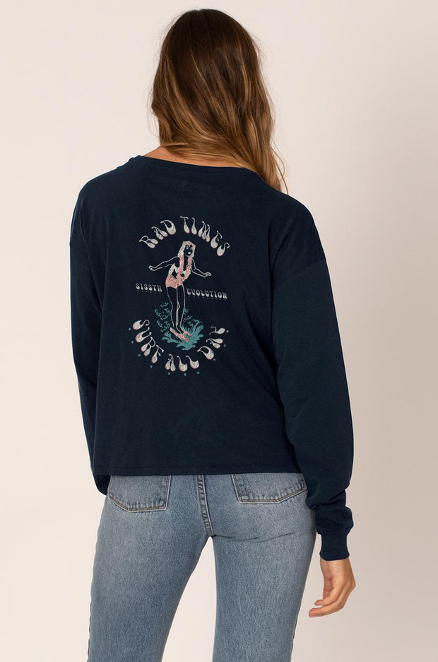 Surf All Day Long Sleeve T Shirt | Midnight