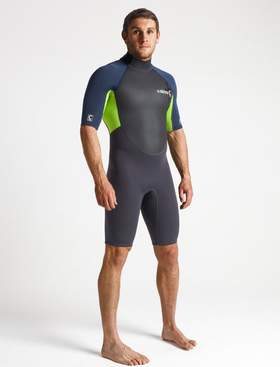 C-Skins Element 3:2 Mens Shorti - Anthracite/Bluestone/Lime