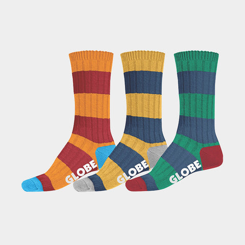 Fat Stripe Boots Socks Deluxe 3 Pack Assorted