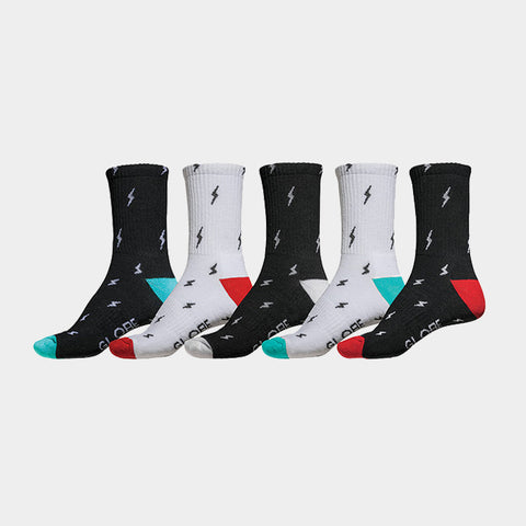 Lightening Crew Socks 5 Pack Assorted