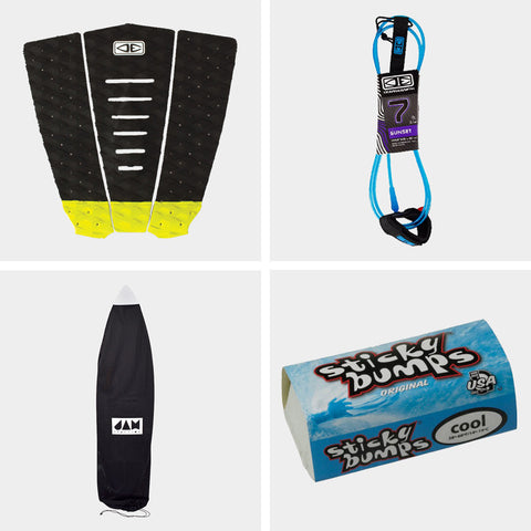 Sunset 7FT Leash, Simple Jack Deck Pad and Board Sock Bundle