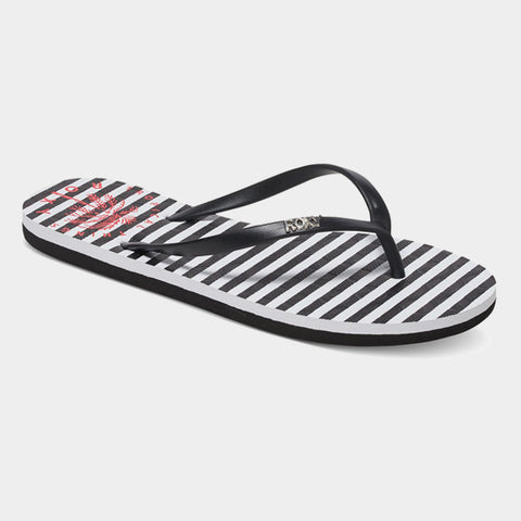 Viva Stamp Flip Flops | Black/White/True Red