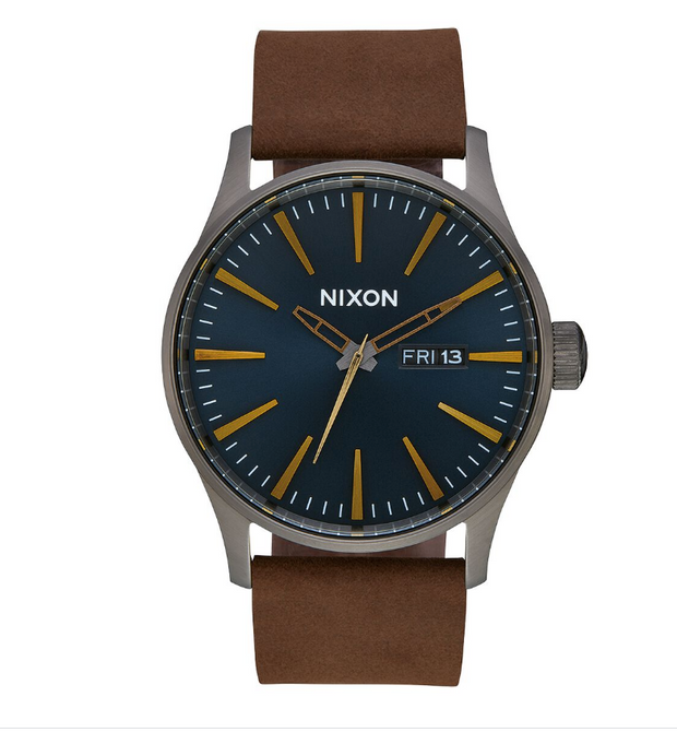 42 mm Sentry Leather Watch - Gunmetal Indigo Brown