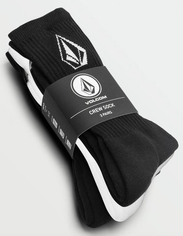 Full Stone Sock 3 Pack - Black/White