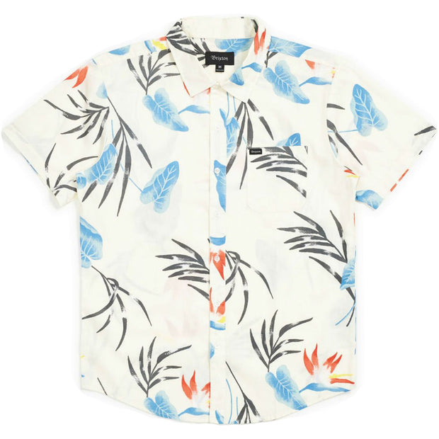 Surf Shop, Surf Clothing, Brixton, Charter Print SS Woven Shirt, Shirts, Off White/Blue