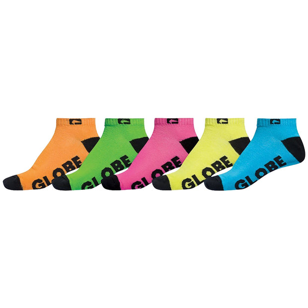 Surf Shop, Surf Clothing, Globe, Boys Neon Ankle Sock 5 Pack, Socks, Multi