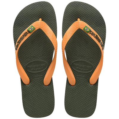 Surf Shop, Surf Clothing, Havaianas, Brasil Logo, Flip Flops, Olive/Vibrant Orange