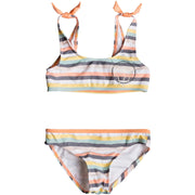 Surf Shop, Surf Clothing, Lets Go Surfing Sports Bra Bikini, Bikinis, Salmon Candy Stripes