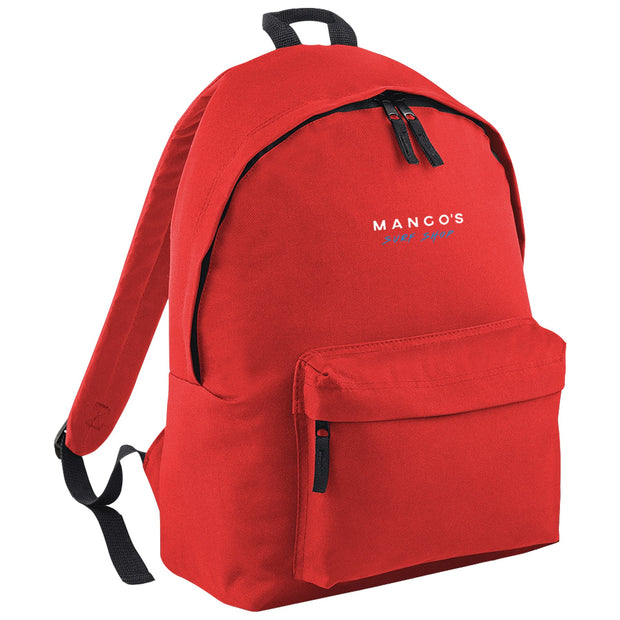 Surf Shop, Surf Clothing, Mango Surfing, Mango Backpack, Blue Logo, Bags, Bright Red