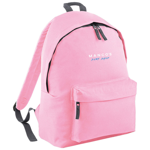 Surf Shop, Surf Clothing, Mango Surfing, Mango Backpack, Blue Logo, Bags, Classic Pink
