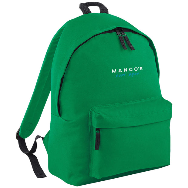 Surf Shop, Surf Clothing, Mango Surfing, Mango Backpack, Blue Logo, Bags, Kelly Green