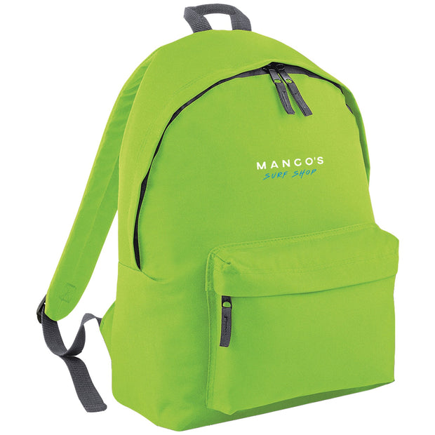 Surf Shop, Surf Clothing, Mango Surfing, Mango Backpack, Blue Logo, Bags, Lime Green