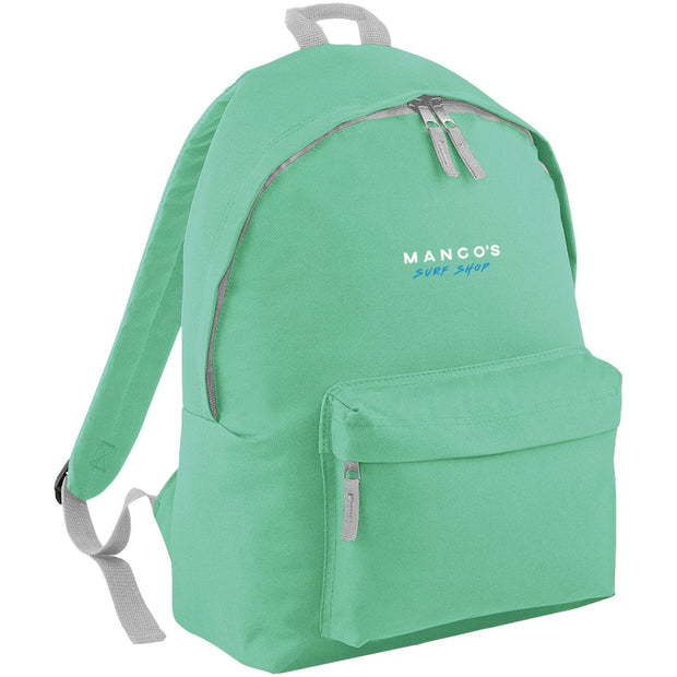 Surf Shop, Surf Clothing, Mango Surfing, Mango Backpack, Blue Logo, Bags, Mint Green