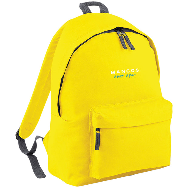 Surf Shop, Surf Clothing, Mango Surfing, Mango Backpack, Blue Logo, Bags, Yellow